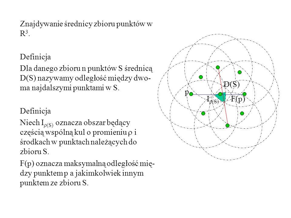 I  (S) D(S) Znajdywanie średnicy zbioru punktów w R 3. Definicja Dla danego zbioru n punktów S średnicą D(S) nazywamy odległość między dwo- ma najdal