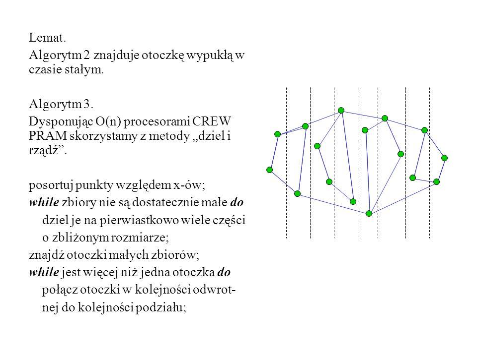 """Lemat. Algorytm 2 znajduje otoczkę wypukłą w czasie stałym. Algorytm 3. Dysponując O(n) procesorami CREW PRAM skorzystamy z metody """"dziel i rządź"""". po"""