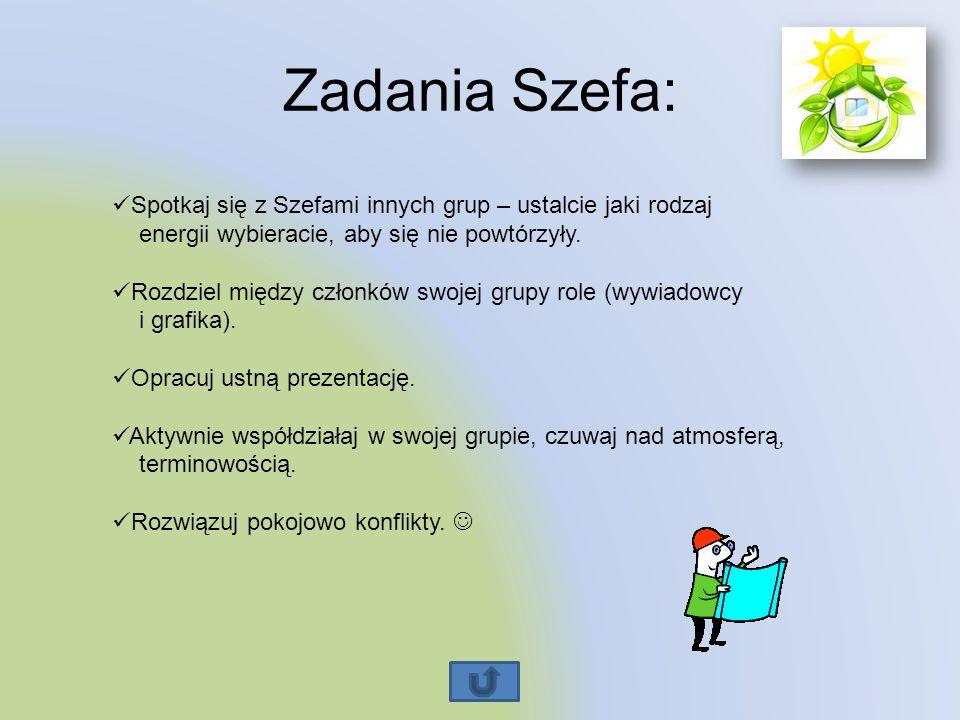 Zadania Szefa: Spotkaj się z Szefami innych grup – ustalcie jaki rodzaj energii wybieracie, aby się nie powtórzyły. Rozdziel między członków swojej gr
