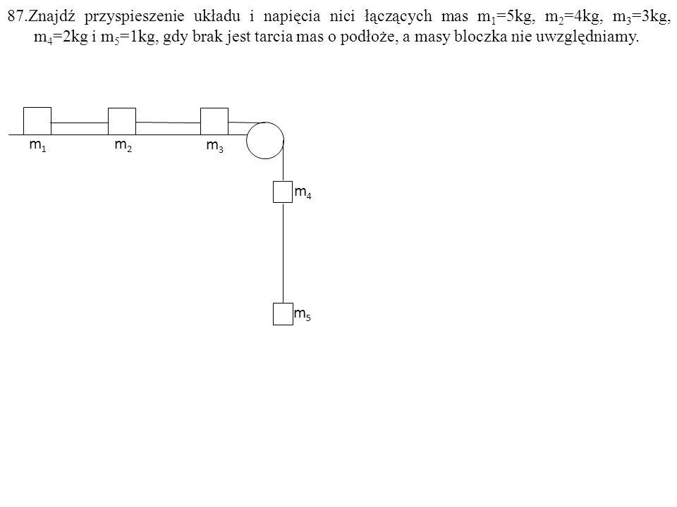 87.Znajdź przyspieszenie układu i napięcia nici łączących mas m 1 =5kg, m 2 =4kg, m 3 =3kg, m 4 =2kg i m 5 =1kg, gdy brak jest tarcia mas o podłoże, a masy bloczka nie uwzględniamy.