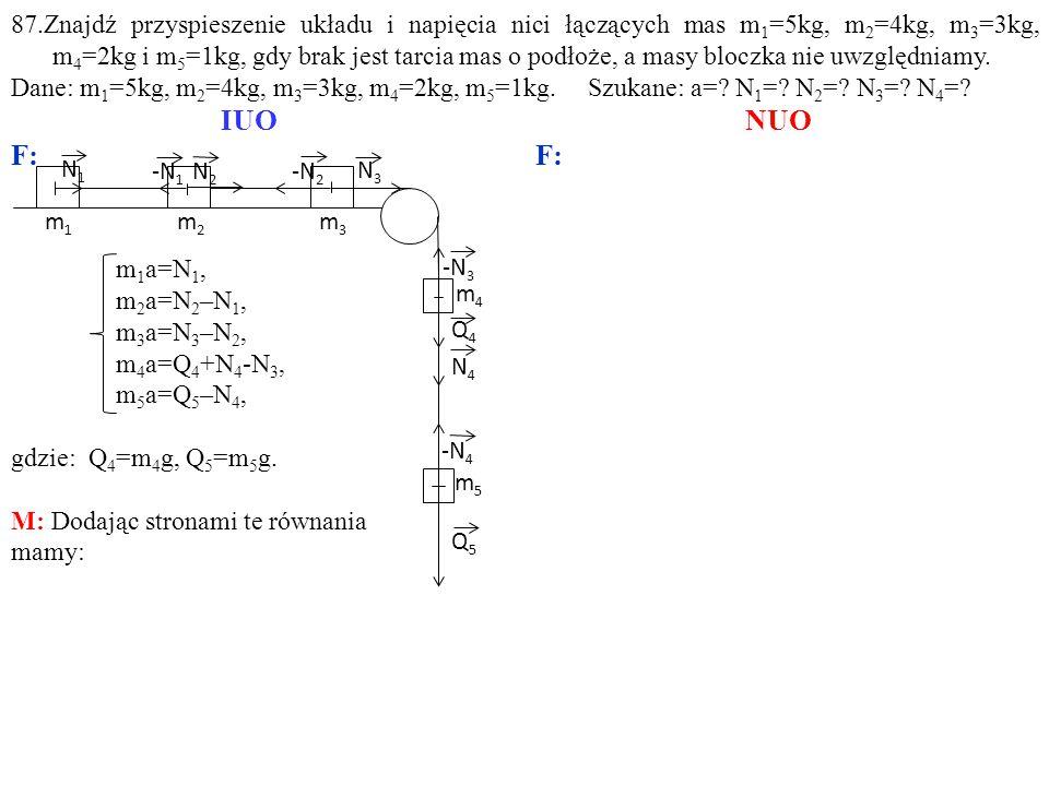 -N 1 N2N2 N3N3 Q4Q4 m5m5 m3m3 m4m4 -N 2 -N 3 Q5Q5 -N 4 N1N1 N4N4 m1m1 m2m2 m 1 a=N 1, m 2 a=N 2 –N 1, m 3 a=N 3 –N 2, m 4 a=Q 4 +N 4 -N 3, m 5 a=Q 5 –N 4, gdzie: Q 4 =m 4 g, Q 5 =m 5 g.