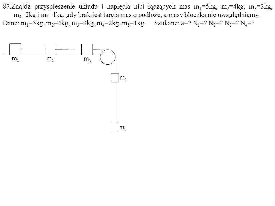 Dane: m 1 =5kg, m 2 =4kg, m 3 =3kg, m 4 =2kg, m 5 =1kg. Szukane: a=? N 1 =? N 2 =? N 3 =? N 4 =? m5m5 m3m3 m4m4 m1m1 m2m2