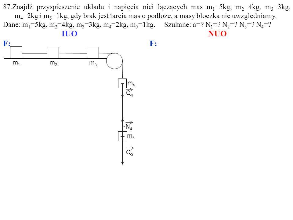Q4Q4 m5m5 m3m3 m4m4 Q5Q5 m1m1 m2m2 87.Znajdź przyspieszenie układu i napięcia nici łączących mas m 1 =5kg, m 2 =4kg, m 3 =3kg, m 4 =2kg i m 5 =1kg, gdy brak jest tarcia mas o podłoże, a masy bloczka nie uwzględniamy.