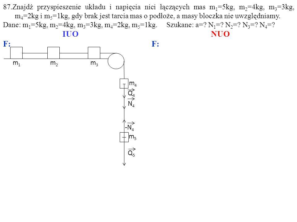 Q4Q4 m5m5 m3m3 m4m4 Q5Q5 -N 4 N4N4 m1m1 m2m2 87.Znajdź przyspieszenie układu i napięcia nici łączących mas m 1 =5kg, m 2 =4kg, m 3 =3kg, m 4 =2kg i m 5 =1kg, gdy brak jest tarcia mas o podłoże, a masy bloczka nie uwzględniamy.