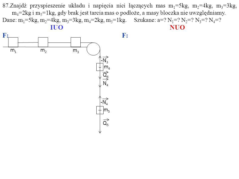 Q4Q4 m5m5 m3m3 m4m4 -N 3 Q5Q5 -N 4 N4N4 m1m1 m2m2 87.Znajdź przyspieszenie układu i napięcia nici łączących mas m 1 =5kg, m 2 =4kg, m 3 =3kg, m 4 =2kg i m 5 =1kg, gdy brak jest tarcia mas o podłoże, a masy bloczka nie uwzględniamy.