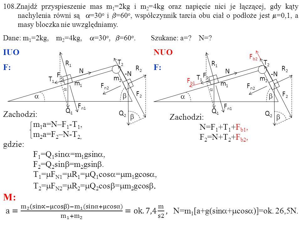 Zachodzi: N=F 1 +T 1 +F b1, F 2 =N+T 2 +F b2, 108.Znajdź przyspieszenie mas m 1 =2kg i m 2 =4kg oraz napięcie nici je łączącej, gdy kąty nachylenia równi są  =30 o i  =60 o, współczynnik tarcia obu ciał o podłoże jest  =0,1, a masy bloczka nie uwzględniamy.
