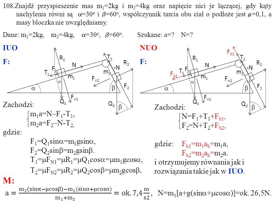 Zachodzi: N=F 1 +T 1 +F b1, F 2 =N+T 2 +F b2, gdzie: F b1 =m 1 a b =m 1 a, F b2 =m 2 a b =m 2 a.