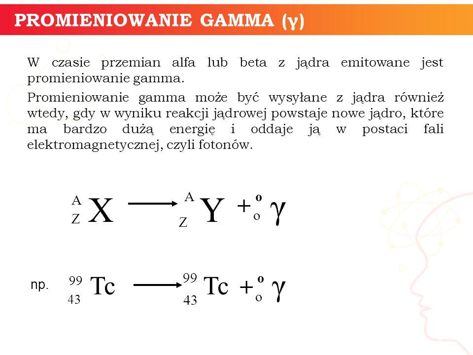 W czasie przemian alfa lub beta z jądra emitowane jest promieniowanie gamma.