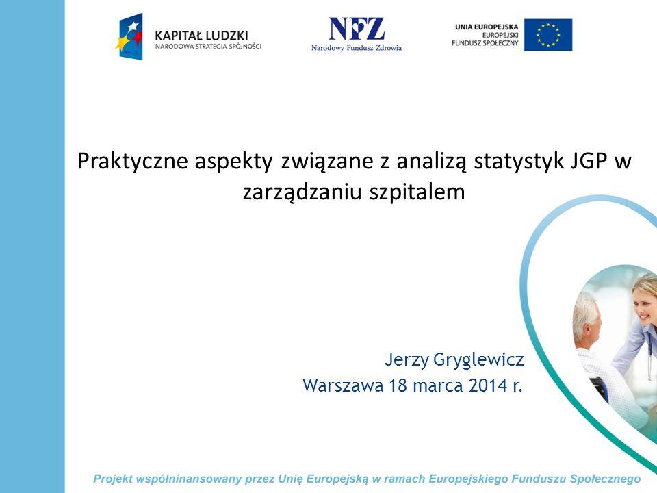 Praktyczne aspekty związane z analizą statystyk JGP w zarządzaniu szpitalem Jerzy Gryglewicz Warszawa 18 marca 2014 r.