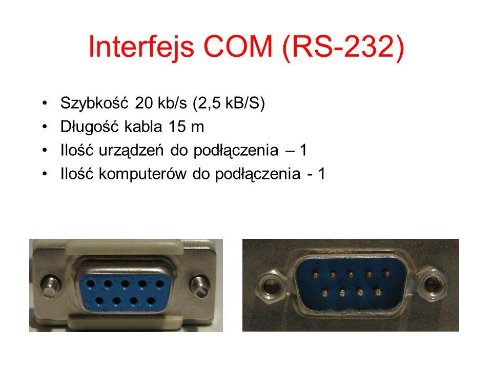 Interfejs LPT (IEEE 1284) Szybkość 2 MB/s Długość kabla 2 m Ilość urządzeń do podłączenia – 64 Ilość komputerów do podłączenia - 1