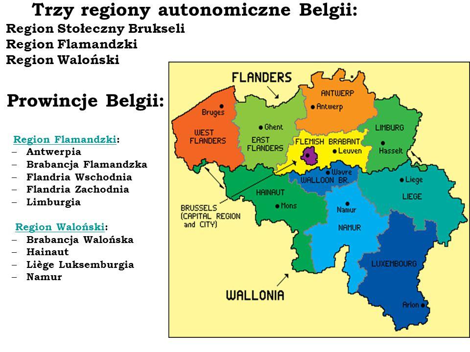 Trzy regiony autonomiczne Belgii: Region Stołeczny Brukseli Region Flamandzki Region Waloński Prowincje Belgii: Region Flamandzki: Region Flamandzki –