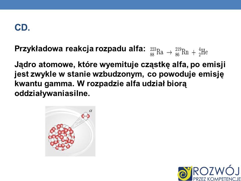 CD. Przykładowa reakcja rozpadu alfa: Jądro atomowe, które wyemituje cząstkę alfa, po emisji jest zwykle w stanie wzbudzonym, co powoduje emisję kwant
