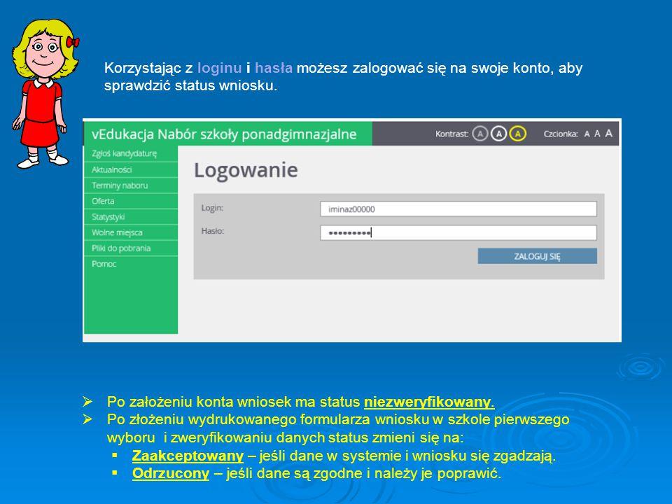 Korzystając z loginu i hasła możesz zalogować się na swoje konto, aby sprawdzić status wniosku.  Po założeniu konta wniosek ma status niezweryfikowan