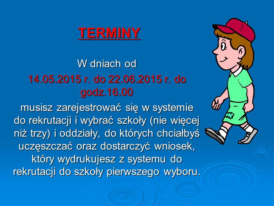 TERMINY W dniach od 14.05.2015 r. do 22.06.2015 r.