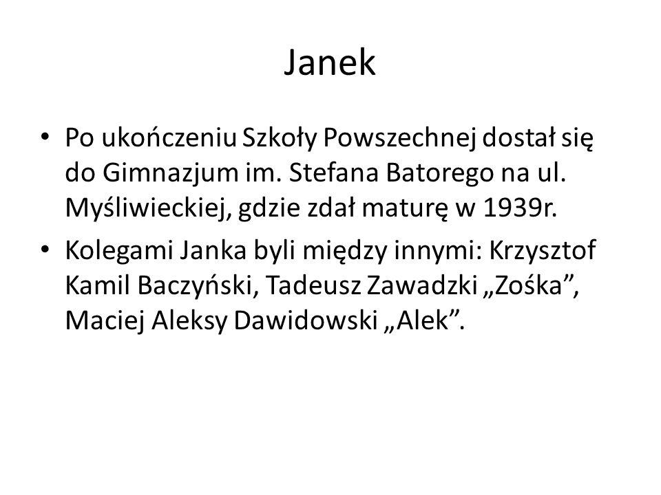 Janek Po ukończeniu Szkoły Powszechnej dostał się do Gimnazjum im.