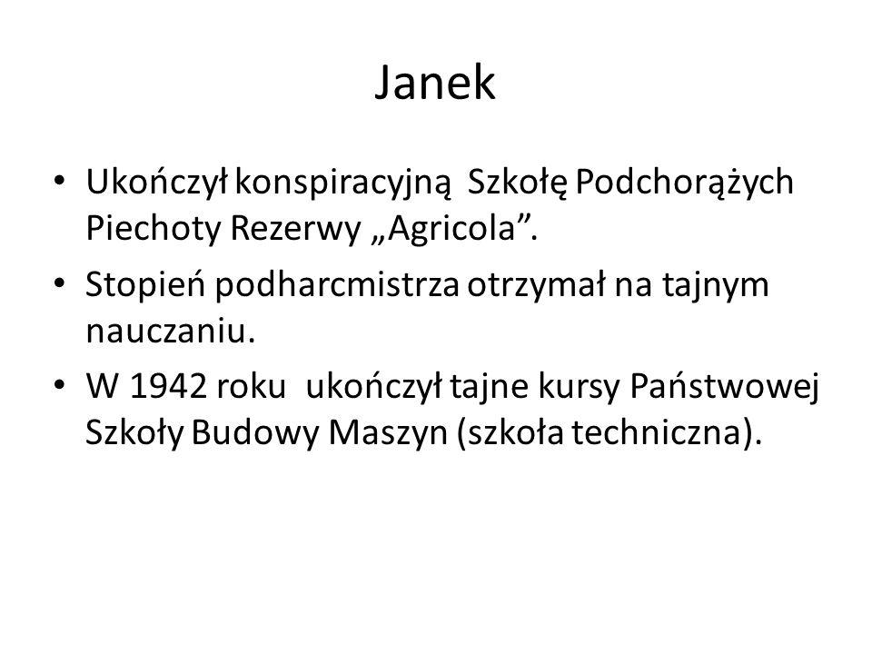 """Janek Ukończył konspiracyjną Szkołę Podchorążych Piechoty Rezerwy """"Agricola ."""