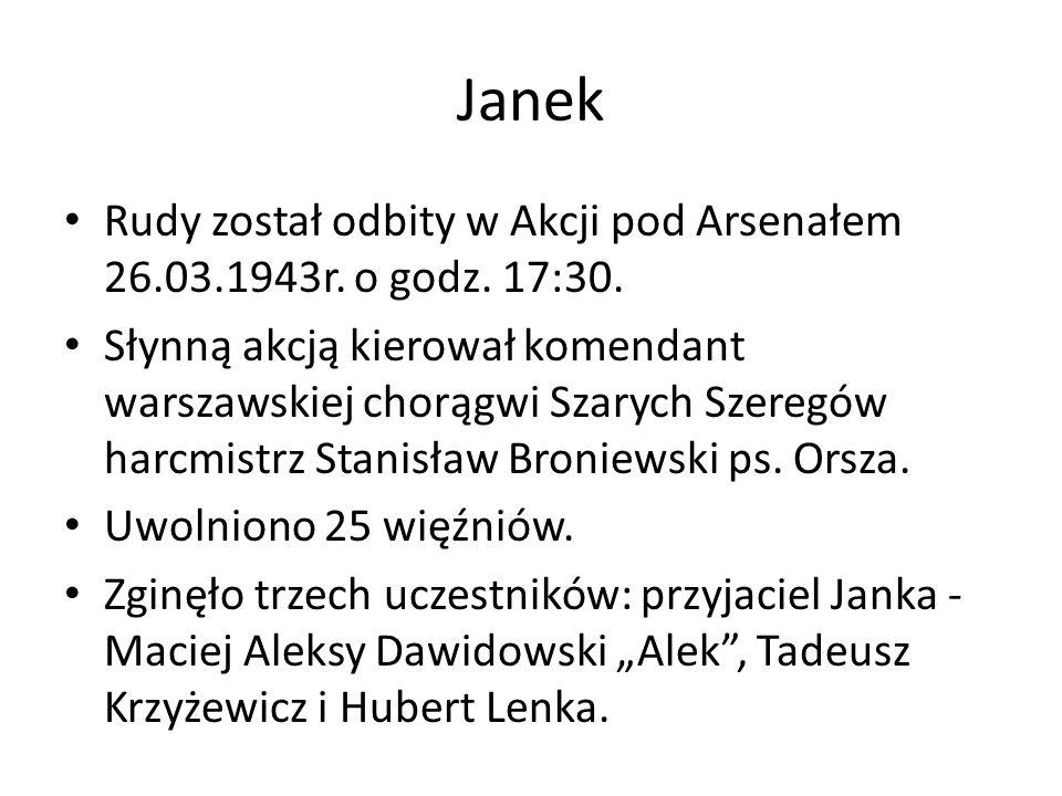 Janek Rudy został odbity w Akcji pod Arsenałem 26.03.1943r.
