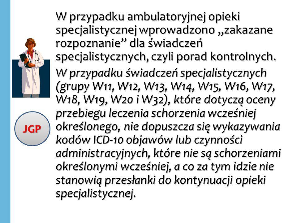 """W przypadku ambulatoryjnej opieki specjalistycznej wprowadzono """"zakazane rozpoznanie dla świadczeń specjalistycznych, czyli porad kontrolnych."""