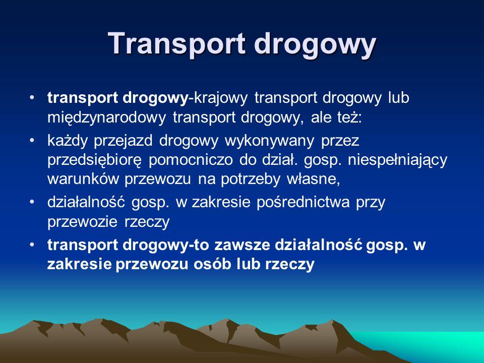 Transport drogowy transport drogowy-krajowy transport drogowy lub międzynarodowy transport drogowy, ale też: każdy przejazd drogowy wykonywany przez p