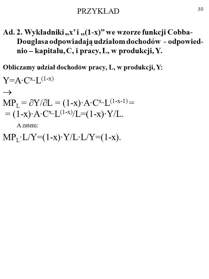 29 Ad. 1. Funkcja Cobba-Douglasa jest jednorodna stopnia pierwszego. A·C x ·L (1-x) =Y A·(  ·C) x ·(  ·L) (1-x) =A·(  x ·C x )·(  (1-x) ·L (1-x) )