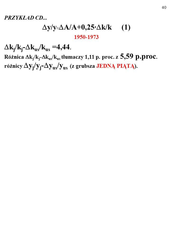 39 PRZYKŁAD CD... Podstawienie do wzoru (1):  y/y ≈  A/A+0,25·  k/k (1) różnicy temp wzrostu capital-labor ratio w J i w US (  k j /k j -  k us /