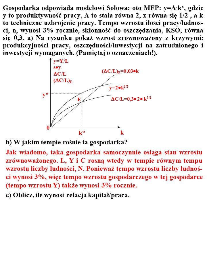 b) W jakim tempie rośnie ta gospodarka?  C/L=0,3  2  k 1/2 k k* y=2  k 1/2 E 0 y=Y/L s  y  C/L (  C/L) E (  C/L) E =0,03  k y*y*