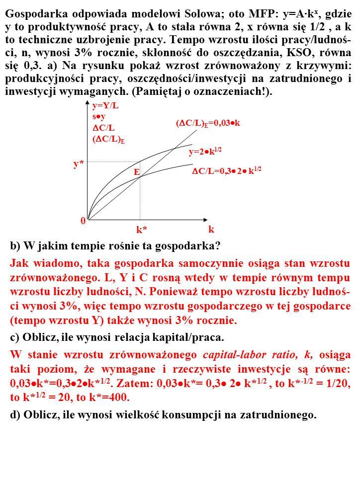 Gospodarka odpowiada modelowi Solowa; oto MFP: y=A·k x, gdzie y to produktywność pracy, A to stała równa 2, x równa się 1/2, a k to techniczne uzbroje