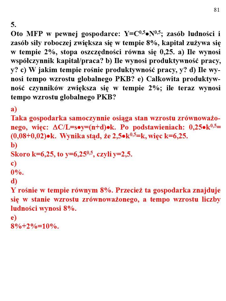 80 4. Oto makroekonomiczna funkcja produkcji w gospodarce, która odpowiada modelowi Solowa: y=A  k X, gdzie y to produktywność pracy, A to stała równ