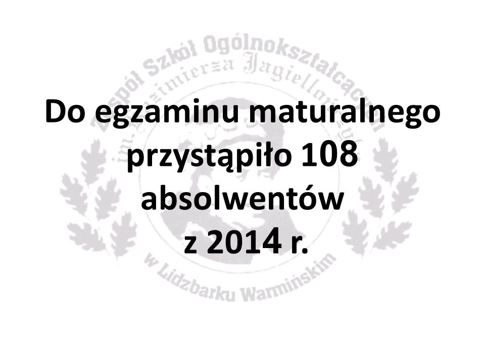 Do egzaminu maturalnego przystąpiło 1 08 absolwentów z 201 4 r.