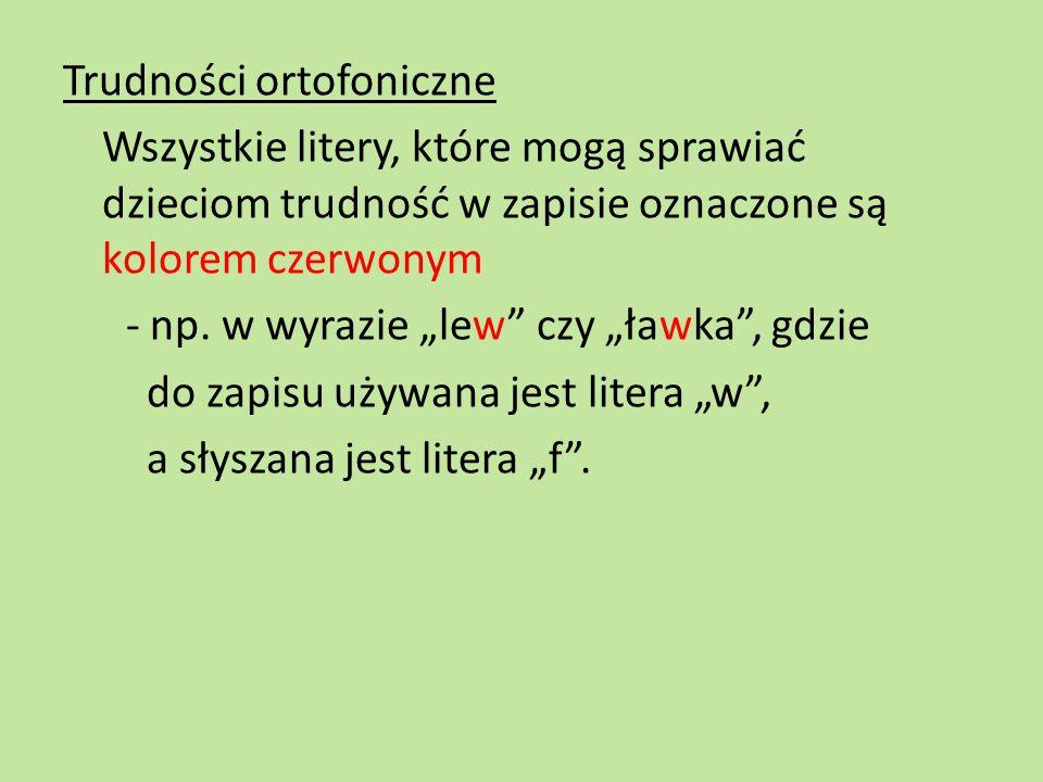 Trudności ortofoniczne Wszystkie litery, które mogą sprawiać dzieciom trudność w zapisie oznaczone są kolorem czerwonym - np.