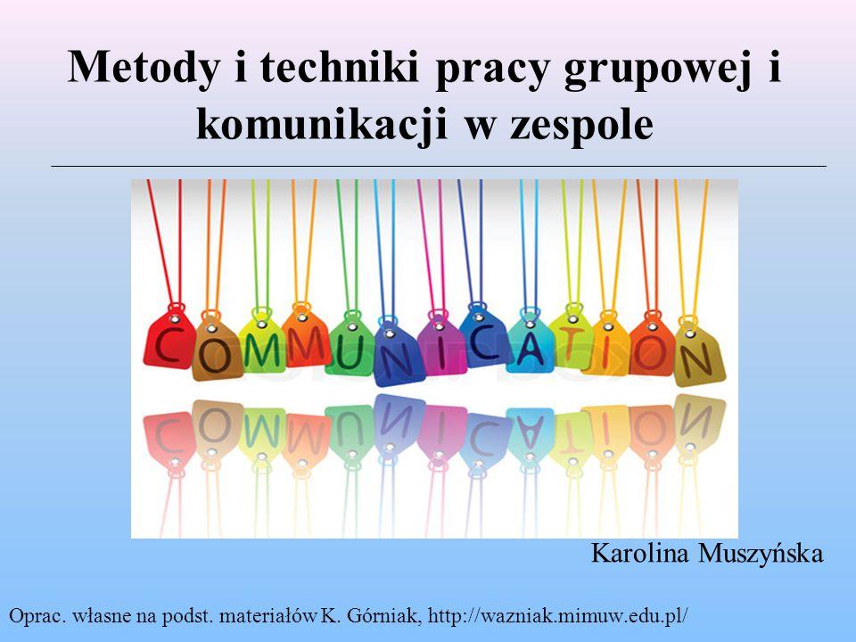 Metody i techniki pracy grupowej i komunikacji w zespole Karolina Muszyńska Oprac.