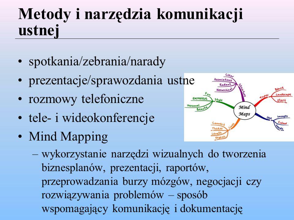 Metody i narzędzia komunikacji ustnej spotkania/zebrania/narady prezentacje/sprawozdania ustne rozmowy telefoniczne tele- i wideokonferencje Mind Mapping –wykorzystanie narzędzi wizualnych do tworzenia biznesplanów, prezentacji, raportów, przeprowadzania burzy mózgów, negocjacji czy rozwiązywania problemów – sposób wspomagający komunikację i dokumentację