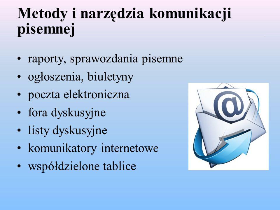Metody i narzędzia komunikacji pisemnej raporty, sprawozdania pisemne ogłoszenia, biuletyny poczta elektroniczna fora dyskusyjne listy dyskusyjne komunikatory internetowe współdzielone tablice