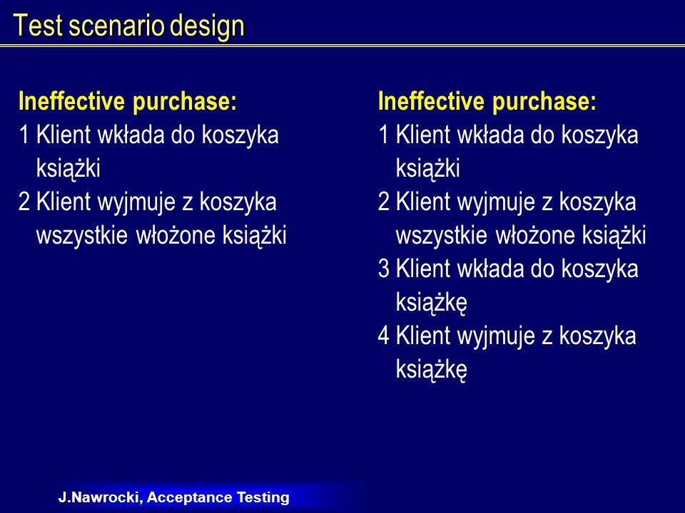 J.Nawrocki, Acceptance Testing Test scenario design Ineffective purchase: 1 Klient wkłada do koszyka książki 2 Klient wyjmuje z koszyka wszystkie włożone książki Ineffective purchase: 1 Klient wkłada do koszyka książki 2 Klient wyjmuje z koszyka wszystkie włożone książki 3 Klient wkłada do koszyka książkę 4 Klient wyjmuje z koszyka książkę