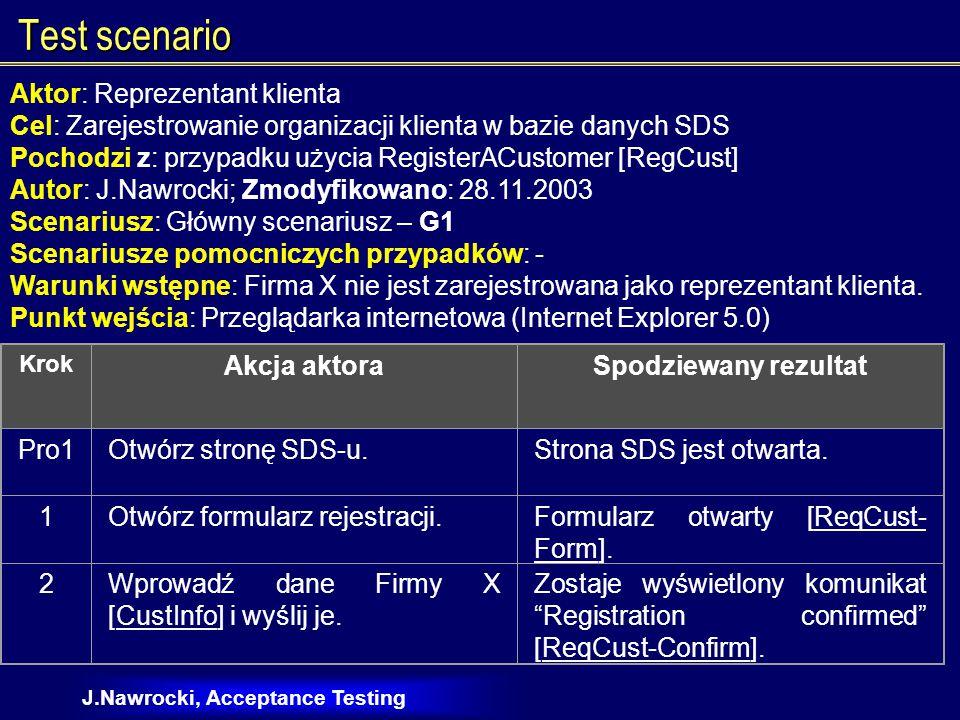 J.Nawrocki, Acceptance Testing Test scenario Aktor: Reprezentant klienta Cel: Zarejestrowanie organizacji klienta w bazie danych SDS Pochodzi z: przypadku użycia RegisterACustomer [RegCust] Autor: J.Nawrocki; Zmodyfikowano: 28.11.2003 Scenariusz: Główny scenariusz – G1 Scenariusze pomocniczych przypadków: - Warunki wstępne: Firma X nie jest zarejestrowana jako reprezentant klienta.