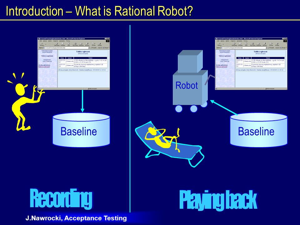 J.Nawrocki, Acceptance Testing Introduction – What is Rational Robot Baseline Robot