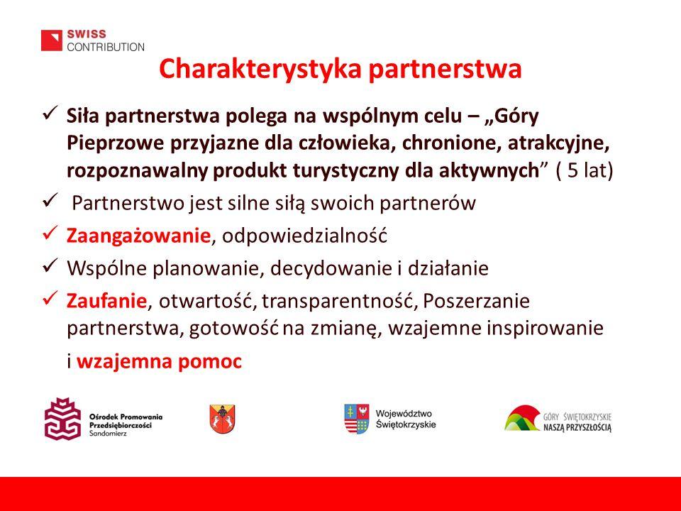 """Charakterystyka partnerstwa Siła partnerstwa polega na wspólnym celu – """"Góry Pieprzowe przyjazne dla człowieka, chronione, atrakcyjne, rozpoznawalny produkt turystyczny dla aktywnych ( 5 lat) Partnerstwo jest silne siłą swoich partnerów Zaangażowanie, odpowiedzialność Wspólne planowanie, decydowanie i działanie Zaufanie, otwartość, transparentność, Poszerzanie partnerstwa, gotowość na zmianę, wzajemne inspirowanie i wzajemna pomoc"""