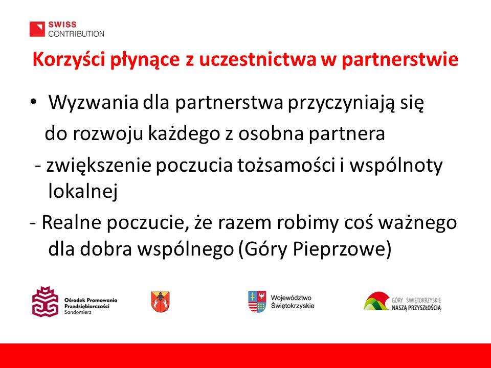 Korzyści płynące z uczestnictwa w partnerstwie Wyzwania dla partnerstwa przyczyniają się do rozwoju każdego z osobna partnera - zwiększenie poczucia tożsamości i wspólnoty lokalnej - Realne poczucie, że razem robimy coś ważnego dla dobra wspólnego (Góry Pieprzowe) 7