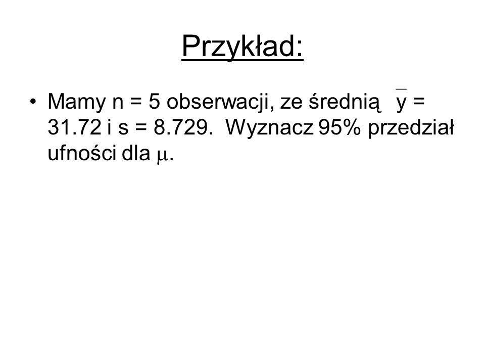 Przykład: Mamy n = 5 obserwacji, ze średnią  y = 31.72 i s = 8.729. Wyznacz 95% przedział ufności dla .