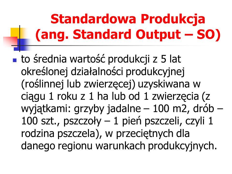 Standardowa Produkcja (ang. Standard Output – SO) to średnia wartość produkcji z 5 lat określonej działalności produkcyjnej (roślinnej lub zwierzęcej)