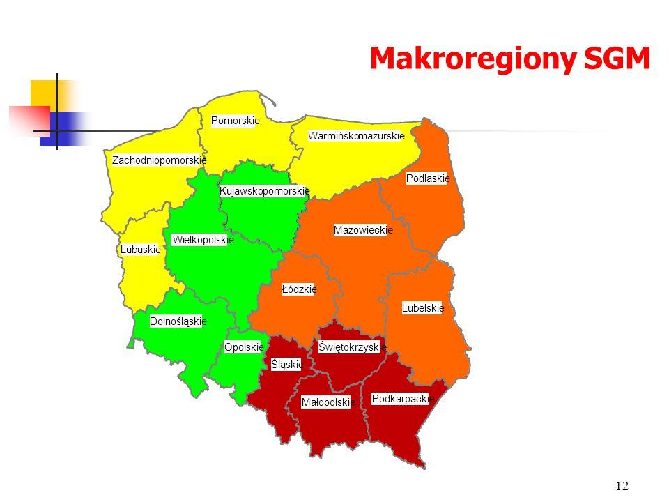 Makroregiony SGM 12 Dolnośląskie Kujawsko-pomorskie Lubelskie Łódzkie Opolskie Podlaskie Pomorskie Śląskie Świętokrzyskie Wielkopolskie Lubuskie Podka
