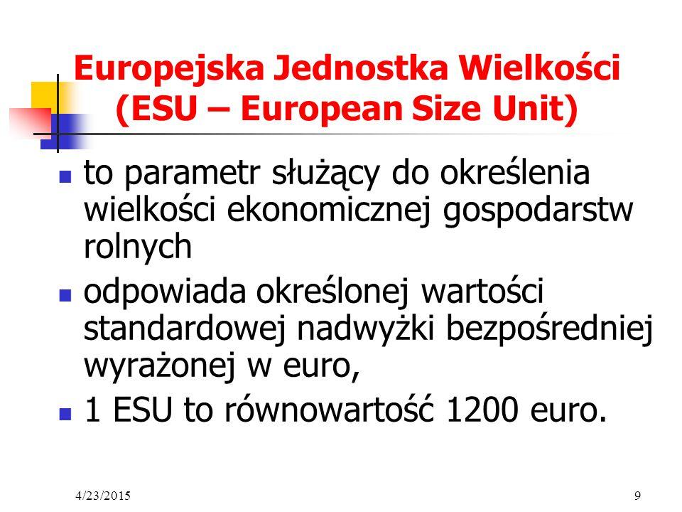 4/23/20159 Europejska Jednostka Wielkości (ESU – European Size Unit) to parametr służący do określenia wielkości ekonomicznej gospodarstw rolnych odpo