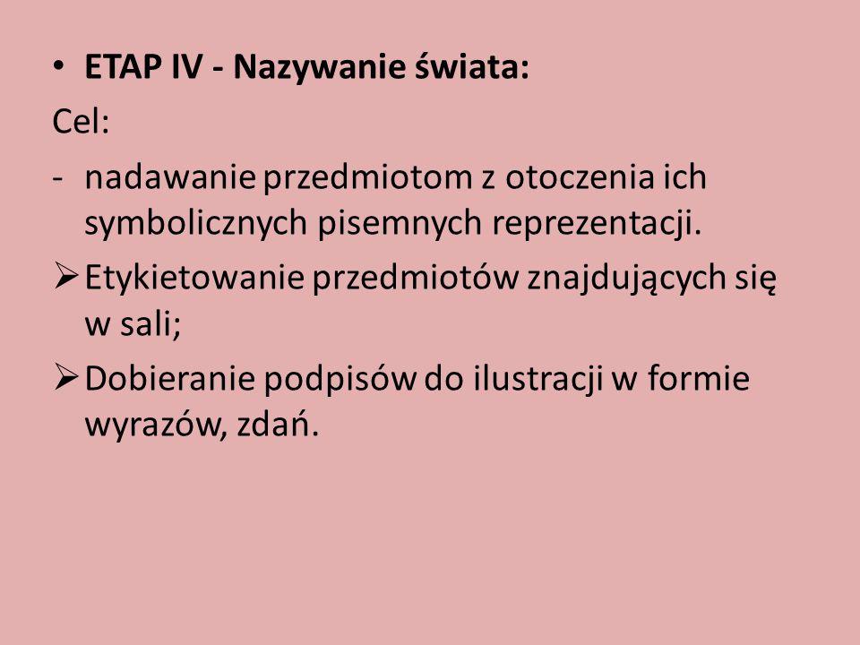 ETAP IV - Nazywanie świata: Cel: -nadawanie przedmiotom z otoczenia ich symbolicznych pisemnych reprezentacji.  Etykietowanie przedmiotów znajdującyc