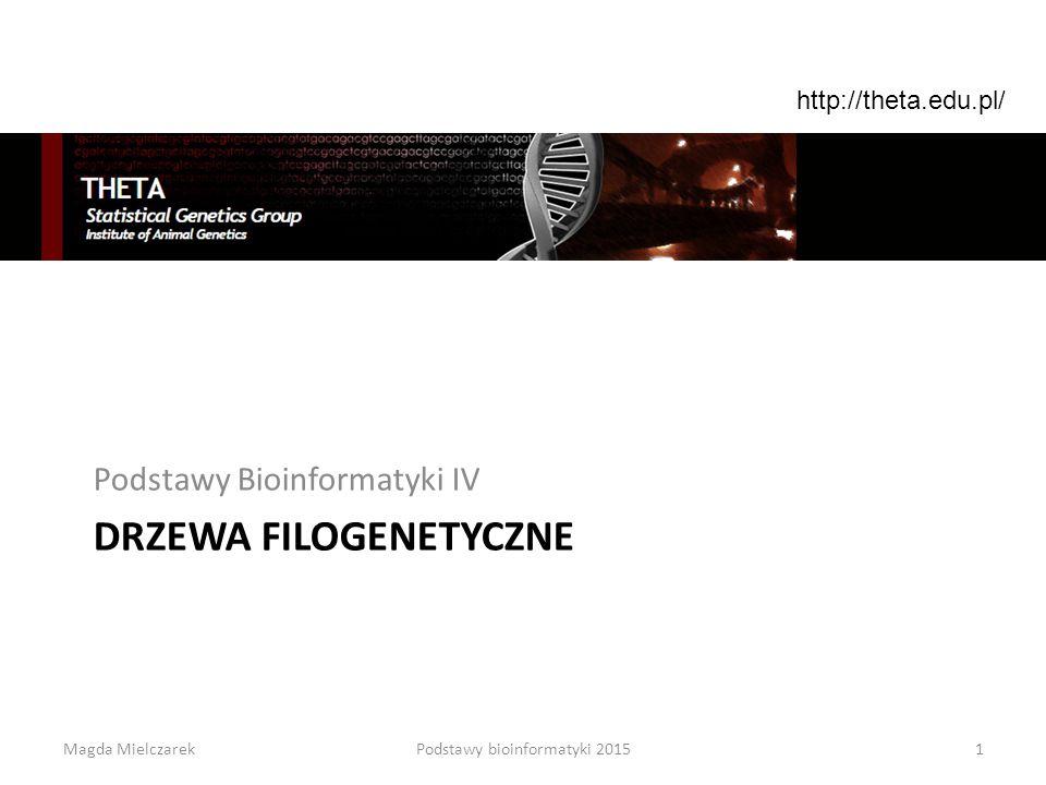 DRZEWA FILOGENETYCZNE Podstawy Bioinformatyki IV 1Podstawy bioinformatyki 2015 http://theta.edu.pl/ Magda Mielczarek