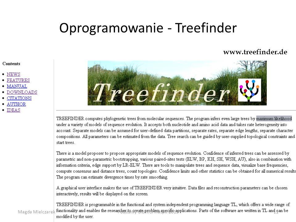 Oprogramowanie - Treefinder www.treefinder.de Magda Mielczarek11Podstawy bioinformatyki 2015