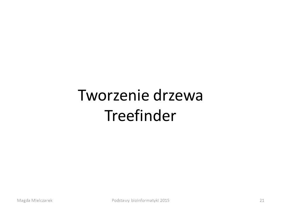 Tworzenie drzewa Treefinder Magda Mielczarek21Podstawy bioinformatyki 2015