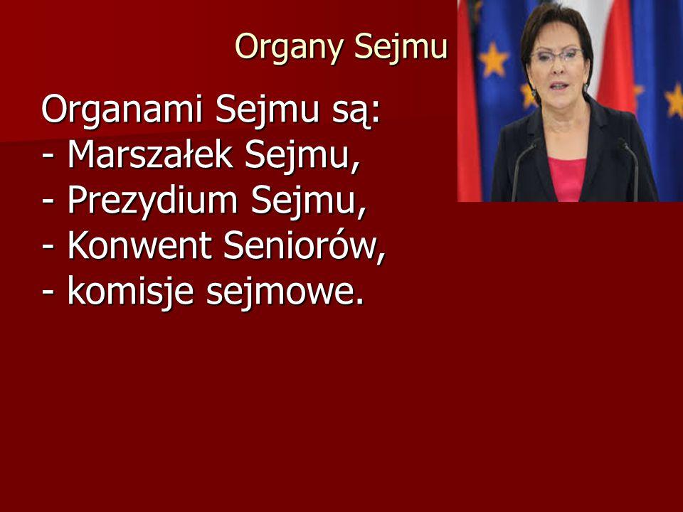Organy Sejmu Organami Sejmu są: - Marszałek Sejmu, - Prezydium Sejmu, - Konwent Seniorów, - komisje sejmowe.