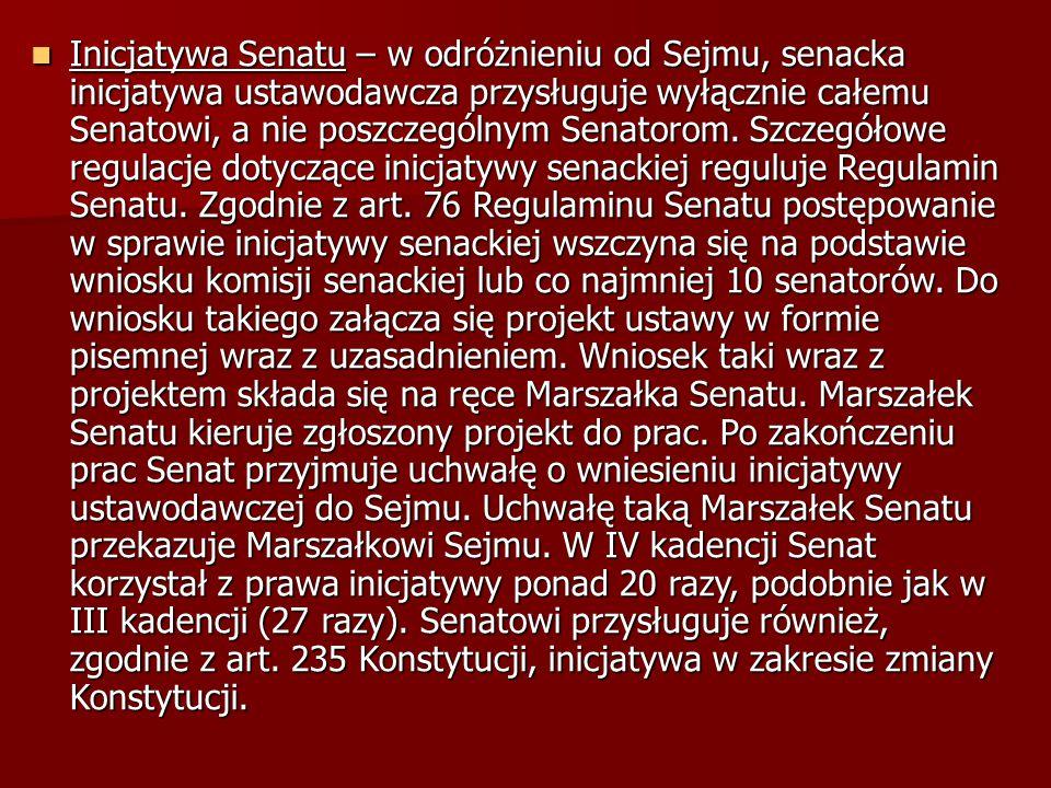 Inicjatywa Senatu – w odróżnieniu od Sejmu, senacka inicjatywa ustawodawcza przysługuje wyłącznie całemu Senatowi, a nie poszczególnym Senatorom. Szcz