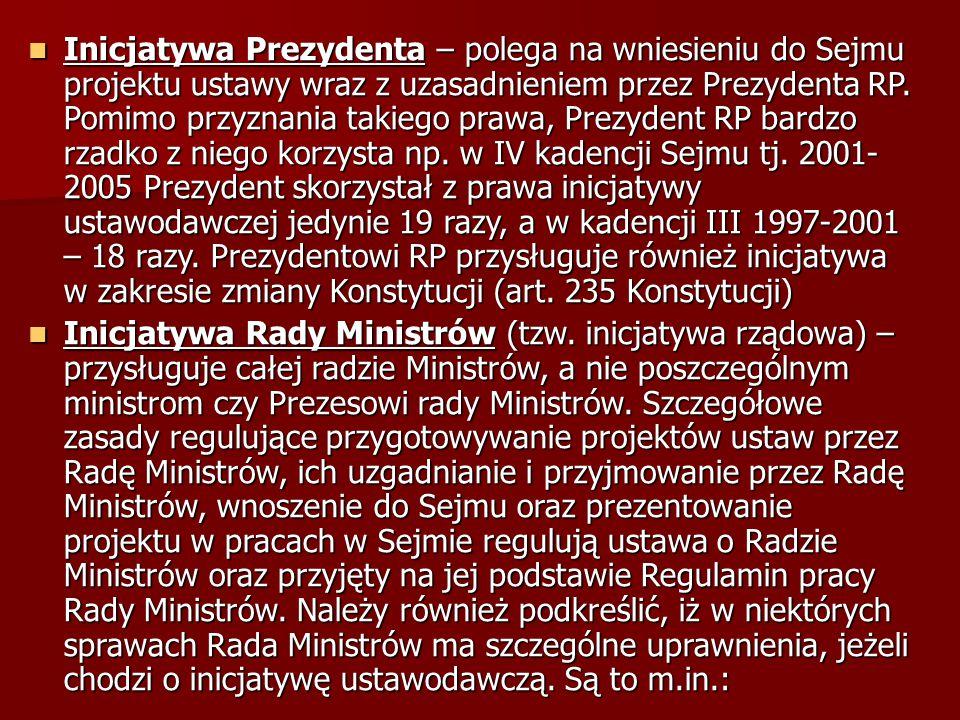 Inicjatywa Prezydenta – polega na wniesieniu do Sejmu projektu ustawy wraz z uzasadnieniem przez Prezydenta RP. Pomimo przyznania takiego prawa, Prezy