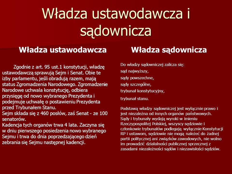 Władza ustawodawczaWładza sądownicza Zgodnie z art. 95 ust.1 konstytucji, władzę ustawodawczą sprawują Sejm i Senat. Obie te izby parlamentu, jeśli ob